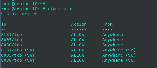 Compruebe ufw status