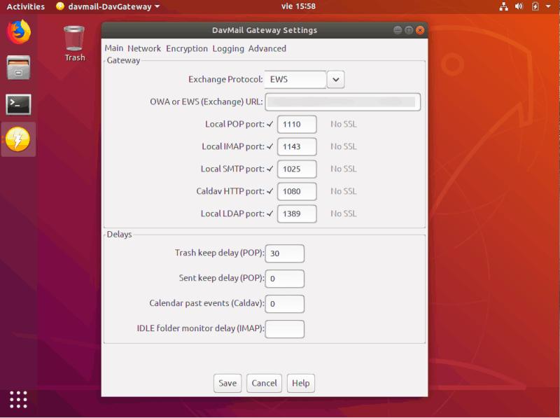 DavMail para permitir el Intercambio de soporte en Linux