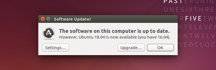 Una captura de pantalla de ubuntu 18.04 notificación de actualización