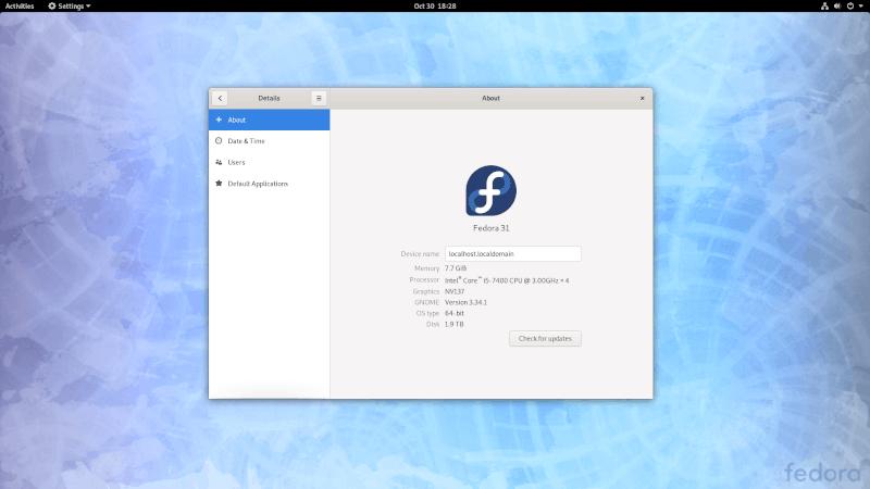 La Configuración Del Sistema De Fedora
