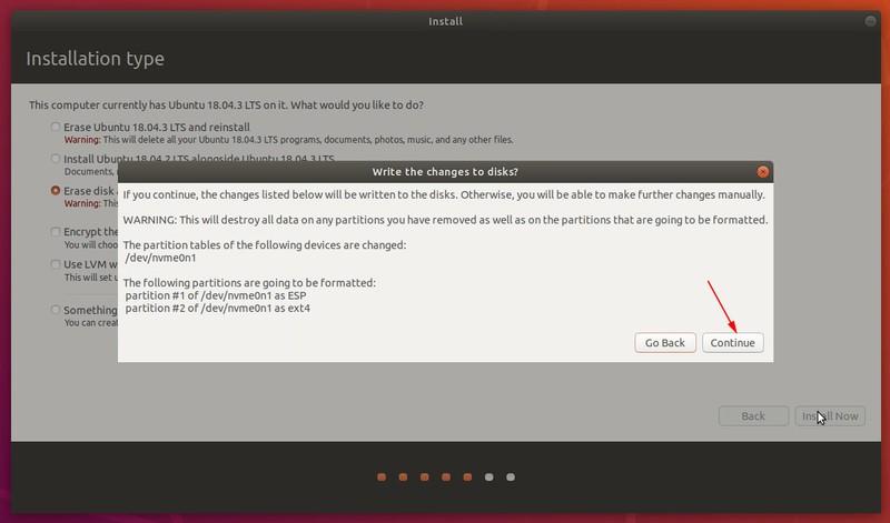 Advertencia para el formato de disco durante la instalación de Ubuntu