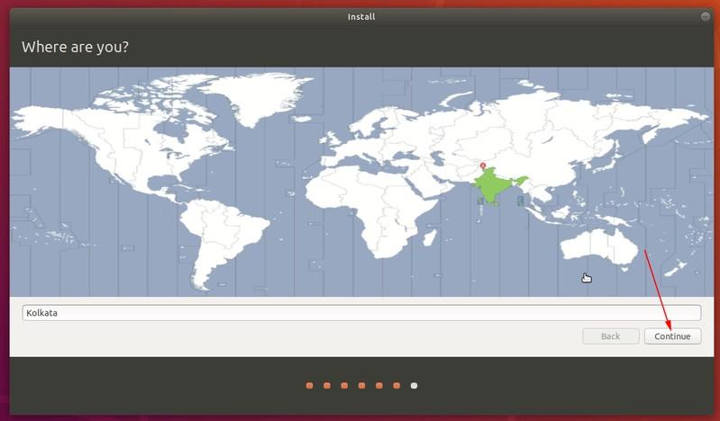 Seleccione la zona horaria cuando se instala Ubuntu
