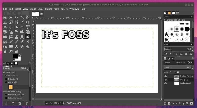 Esquema agrega al texto en GIMP