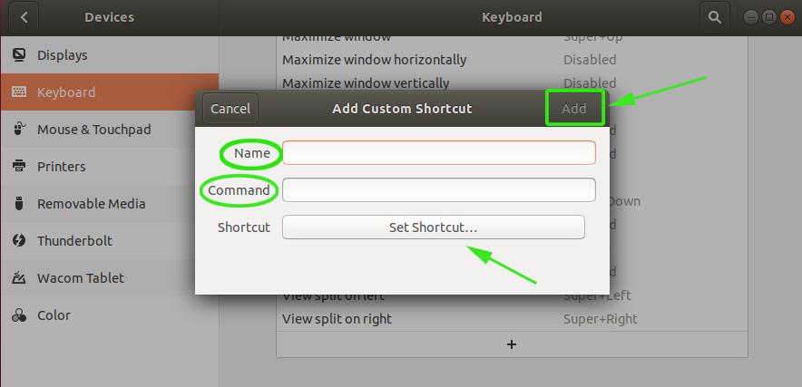 Definir Ubuntu atajos de teclado