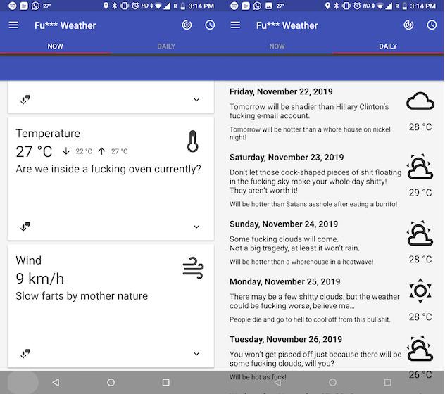 Divertida app de Tiempo para Android