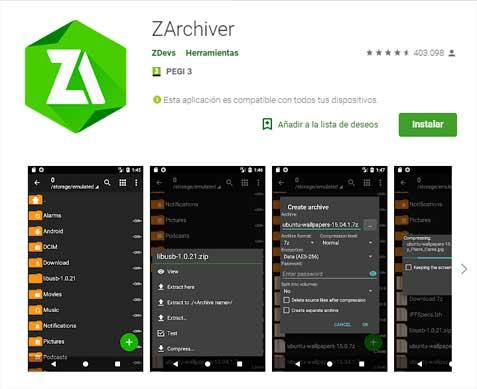 abrir zip en android
