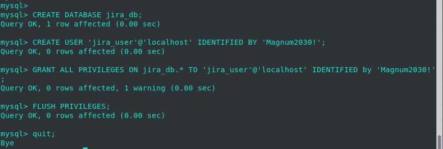 Crear base de datos para JIRA
