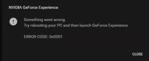NVIDIA GeForce Experience error code 0x0001