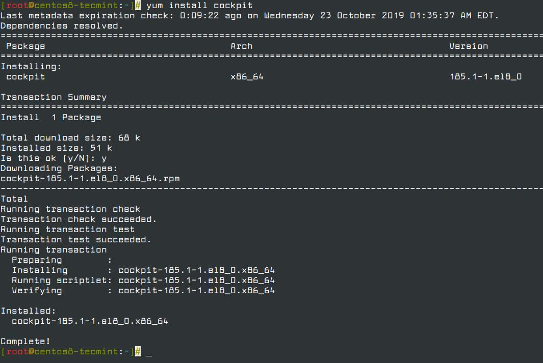 Instalar la Cabina de la Consola Web en CentOS 8