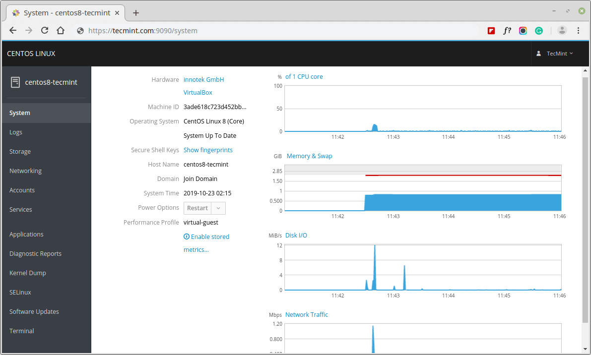 Ejecución de la Cabina de la Consola Web en CentOS 8