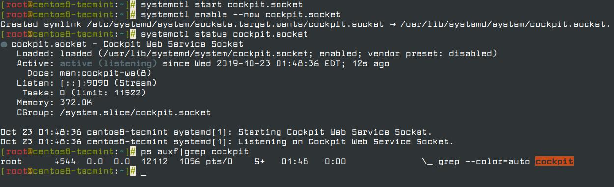 Inicio y Verificar la Cabina de la Consola Web en CentOS 8