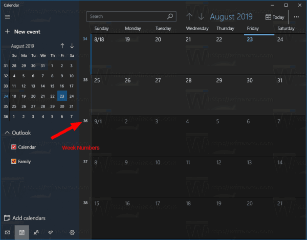 Windows 10 Calendario De Permitir A Los Números De La Semana