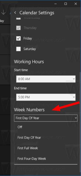 Windows 10 Calendario De La Configuración De Los Números De La Semana