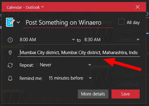 Windows 10 Calendario De Aplicación De La Ubicación Del Evento