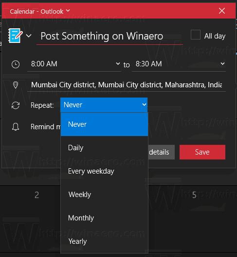 Windows 10 Aplicación De Calendario De Eventos Repetir