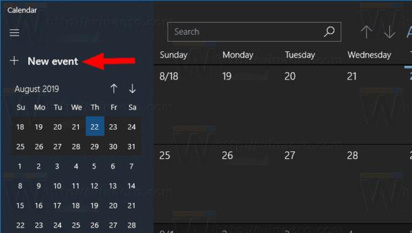 Windows 10 Aplicación De Calendario Nuevo Evento De Botón