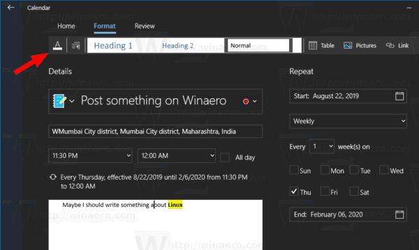 Windows 10 Aplicación De Calendario Nuevo Evento De Diálogo 9
