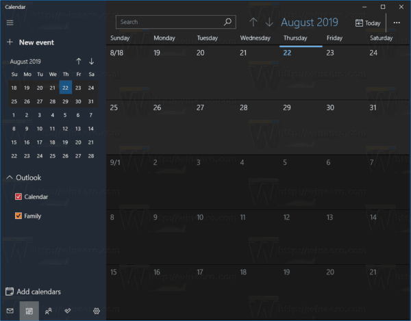 Windows 10 Aplicación De Calendario