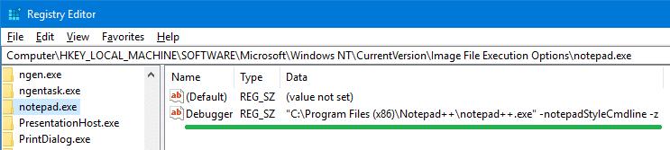 el bloc de notas además de reemplazar depurador notepad.exe