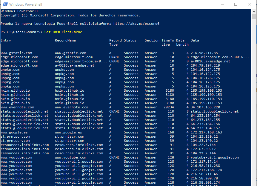 get dns cache powershell