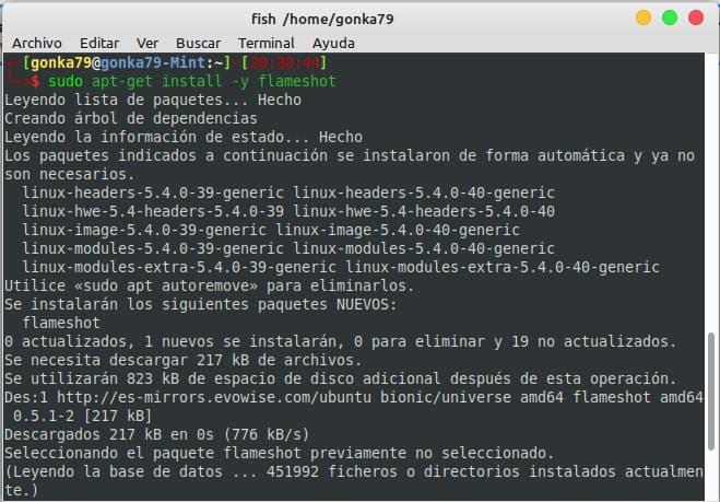 instalar flameshot comando ubuntu