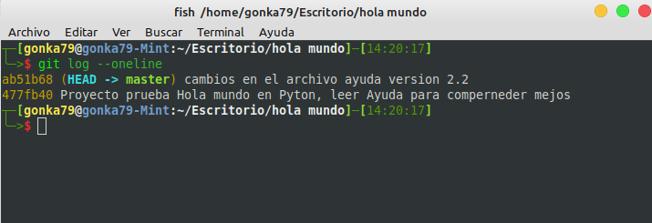 log compacto git