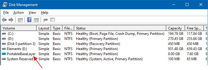 ¿qué es PortableBaseLayer en administración de discos