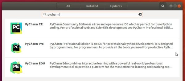 pycharm in softwarecenter