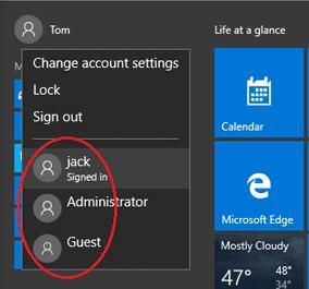 los usuarios que han iniciado sesión en windows 10