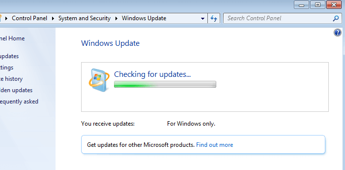 windows 7 se cuelga buscar actualizaciones
