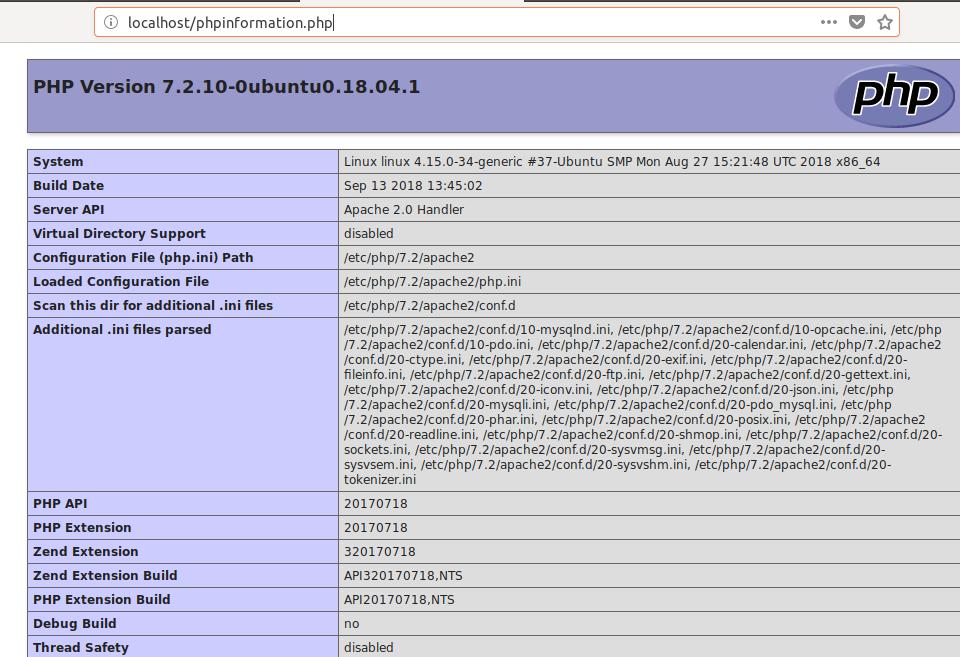PHP info en Ubuntu LÁMPARA Servidor